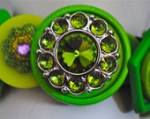 Green Bling Button Bracelet/Charm Bracelet/OOAK/Statement Bracelet/Gift For Her/Expandable
