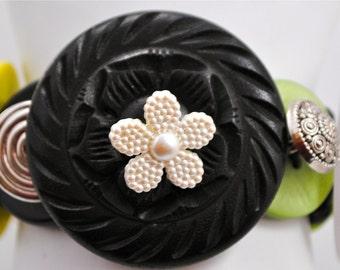 Green Button Bracelet/Charm Bracelet/Black/Pearl/Silver/OOAK/Gift For Her/Statement Bracelet/Expandable/Under 30 USD