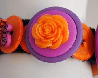 Colorful Button Bracelet/Charm Bracelet/Orange/Purple/OOAk/Gift For Her/Special Occasion/Expandable/Under 30 USD