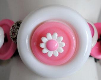 Summer White Button Bracelet/ OOAK/Charm Bracelet/Pink/Silver/Statement Bracelet/Gift For Her/Expandable/Under 30 USD
