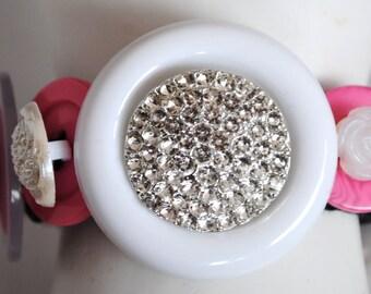 Unique Pink Button Bracelet/White/Silver/OOAK/Charm Bracelet/Spring/Summer Jewelry/Expandable/under 50 USD