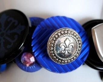Cobalt Blue Button Bracelet/Silver/Black/OOAK/Charm Bracelet/Statement Bracelet/Gift For Her/Expandable/Under 30 USD