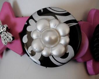 OOAK Button Bracelet/Charm Bracelet/Magenta/Black/Pearl/Statement Bracelet/Gift For Her/Expandable/Under 35 USD/