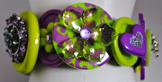 Purple button bracelet lime green statement jewelry OOAK expandable flowers gift for her spring contemporary