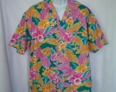 Vintage Hawaiian Shirt by Royal Creations with Orchids and Tropical Leaves size L