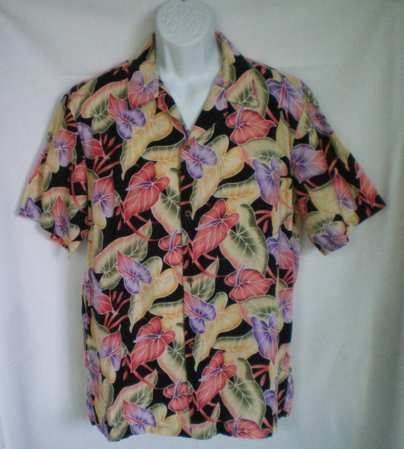 Vintage Hawaiian Shirt by KY's International Fashion with Tropical Flowers and Leaves size L