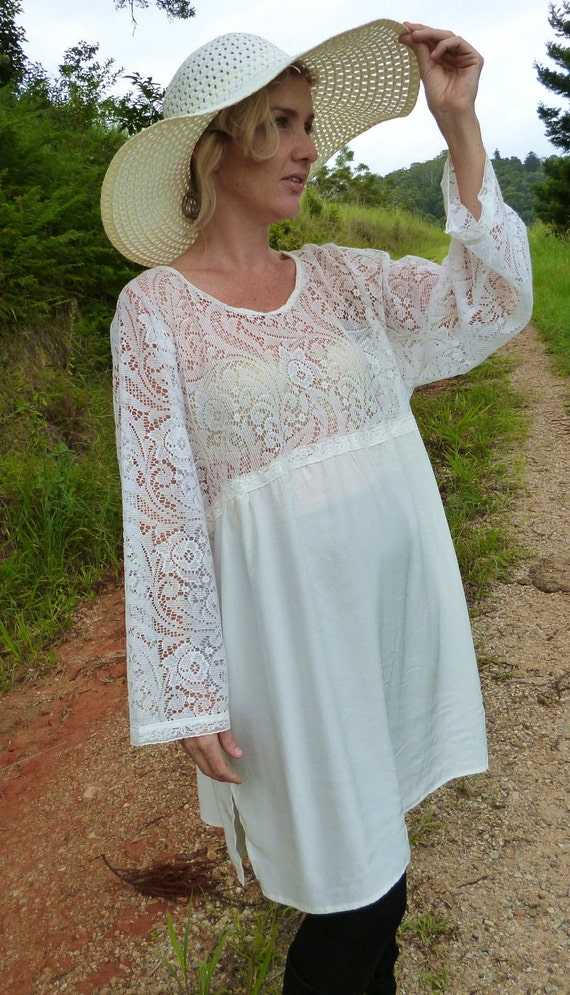 romantic country tunic, vintage white lace, silk, XL, PLUS, maternity
