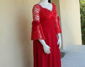 Vintage Gown - Red Maxi -  Long Dress - Renaissance Medieval Gown - XL Gown