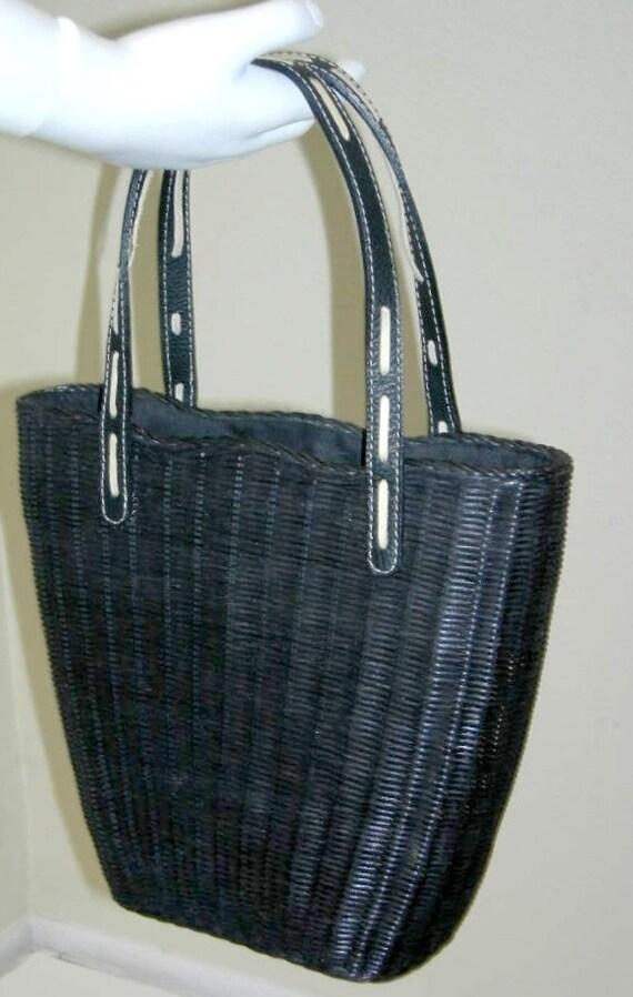 Straw Beach Bag Tote Vintage Bag Woven Black Rattan Basket Purse