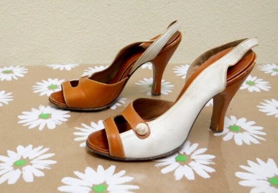 Vintage Shoes Size 4 Peep Toe Sling Back Heels from Saks