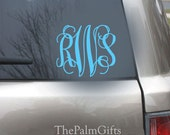 Interlocking Vine Monogrammed Car Decal - Vinyl Decals for your Car 5in from The Palm Gifts