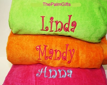 Quality Monogrammed Beach Towels -FUN Colors-Personalized Towels from The Palm Gifts - Select Color