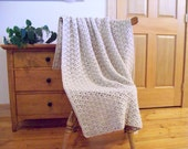 Special order for Anja, Sky Blue Crochet Throw Blanket in Shell Stitch pattern