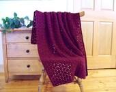 SALE! Burgundy Red Crochet Blanket, Crochet Throw Afghan, 54x41, Adult lap blanket, couch sofa Handmade, Many colors @ CozyHomeCrochet