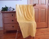 Butterscotch Yellow Hand Crochet Throw Blanket, Afghan Adult Lap 60x40, couch sofa throw bed laphan blankets and throws Many colors in shop