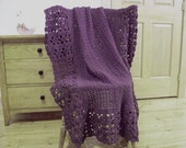 CLEARANCE! Hand Crocheted Lacy Blanket, Crochet afghan blanket, throw blanket, Dusty Purple 60 x 40 Handmade Lace Couch Sofa Lap Solid Color