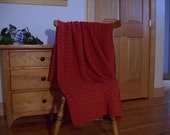 Red Hand Crochet Blanket Afghan, Throw Blanket, Rouge Red 55 x 40, Adult Lap, One Solid Color, Couch Sofa Bed, More Colors Cozy Home Crochet