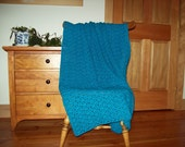 "Hand Crochet Turquoise Blue Blanket Crochet Throw Afghan Peacock Blue 58 x 37"" approx One solid color adult bed sofa More Colors in Shop,"