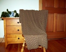 "Hand Crochet Nutmeg Brown Blanket, Throw Afghan 55""x 40"", One Solid Color Adult lap  bed couch sofa lapghan  Many Colors Available"