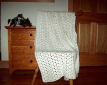 Crochet Throw Blanket, Hand Crocheted Afghan Blanket, Afghan Throw, White, 55x40, Adult lap blanket , Many colors in shop, cozy home crochet