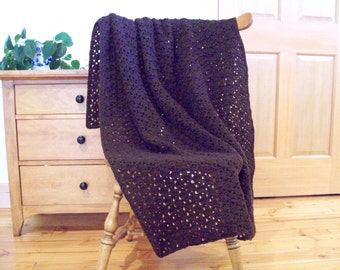 Hand Crochet Chocolate Brown Throw Blanket, Crocheted Afghan Blanket, Dark Brown, Couch Throw, Sofa Throw 55x40 Adult lap throw, Solid color