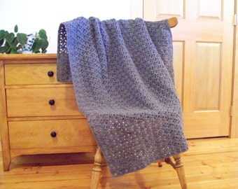 "Gray Crocheted Blanket Afghan, Gray Throw Blanket Lap 60""x40"" By Cozy Home Crochet, One solid color, light weight Many Color Available"