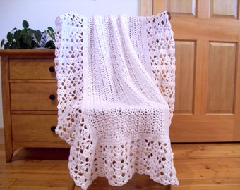 """White Lacy Hand Crochet Afghan Throw Blanket, lace, lacey 61x43"""", Solid Color, Bed, Sofa Couch, Lap, More colors @ CozyHomeCrochet"""