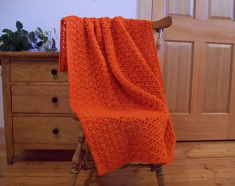 Crochet Orange Throw Blanket, Orange Afghan, Hand Crochet, Solid Color Carrot Orange, 59x39, Handmade, Adult Lap Size, One Solid Color,