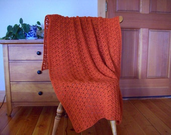 Crochet Orange Blanket, Throw, Crochet Afghan, Lap Blanket,  Couch Throw Pumpkin Orange 62x37, by Cozy Home Crochet