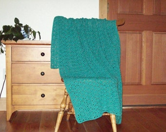 Hand Crochet Aqua Blue Throw Blanket, Afghan 58 x 40, Adult size One Solid Color, sofa couch, lap bed laphan More Colors in Shop