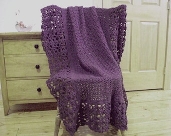 Hand Crocheted Lacy Blanket, Crochet afghan blanket, throw blanket, Dusty Purple, 60 x 40, Handmade Lace, Couch Sofa Lap Solid Color Lace