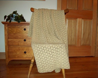 Crocheted Blanket, Throw Blanket, Crocheted Afghan, Oatmeal, Beige / Tan 59 x 38 inches, Blanket Afghan Throw, By Cozy Home Crochet