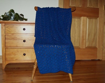 Royal Blue Hand Crochet Throw Blanket, Afghan Blanket, 55x40 Lap Couch, Sofa One solid color Adult, Laphan, Bed Throw Many Colors Available