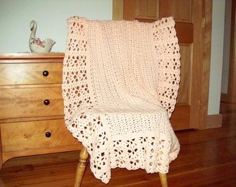 "Soft Peach Hand Crochet Throw Blanket Afghan Blanket, Lacy Lacey Lace, 60x40""  lap couch sofa bed solid color Many colors @ CozyHomeCrochet"