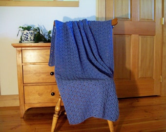 Blue Crocheted Blanket Afghan Throw Lap, Adult, Faded Denim Blue 61x38, One Solid Color Handmade, Medium shade