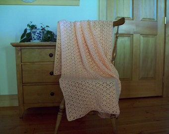 CLEARANCE! Crochet Peach Blanket afghan Throw Blanket light peach 57x37 Lap, One Solid Color, couch throw bed sofa lap More Colors In Shop