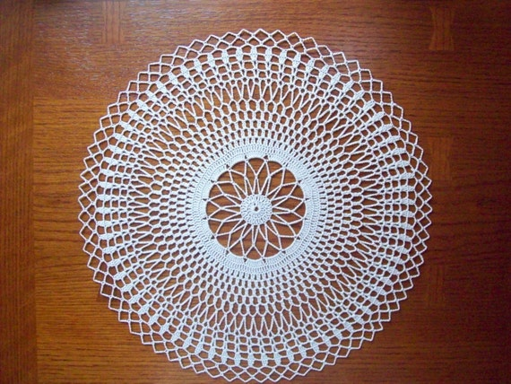 New Hand Crocheted Heirloom Quality Ecru Doily-14 inches-More doilies in store