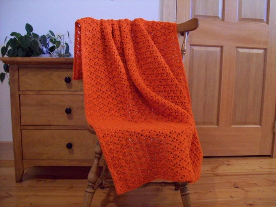 Crochet Orange Throw Blanket, Orange Afghan, Hand Crochet, Solid Color Carrot Orange, 58x40, Handmade, Adult Lap Size, One Solid Color,