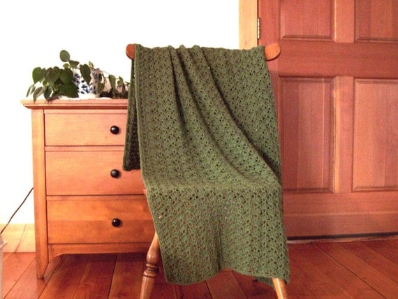 Sage Green Hand Crochet Throw Blanket Afghan 57 x 38 inches, One Solid Color Forest Green Sofa Couch Bed MANY colors in shop CozyHomeCrochet