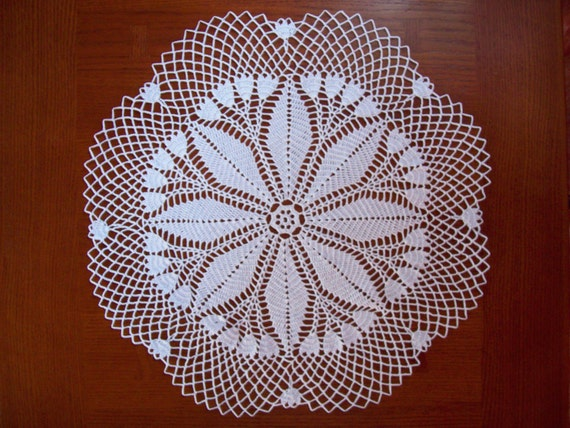 Hand Crocheted Doily, White, 20 inches, Pattern is called Snow Drop-More doilies in shop