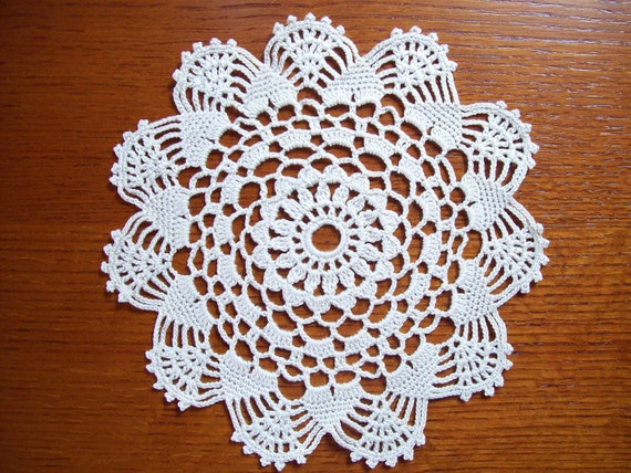 Handmade Crocheted Doily in Natural Beige color-8 inches-New Crocheted Lace Doily-Lacy-More crocheted doilies in shop