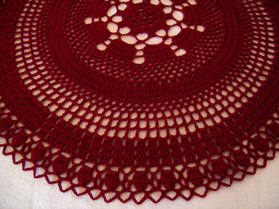 Burgundy Red Crocheted Doily, Deep Burgundy Red, 15 inches, Handmade Lace, Lacy, Christmas Doily