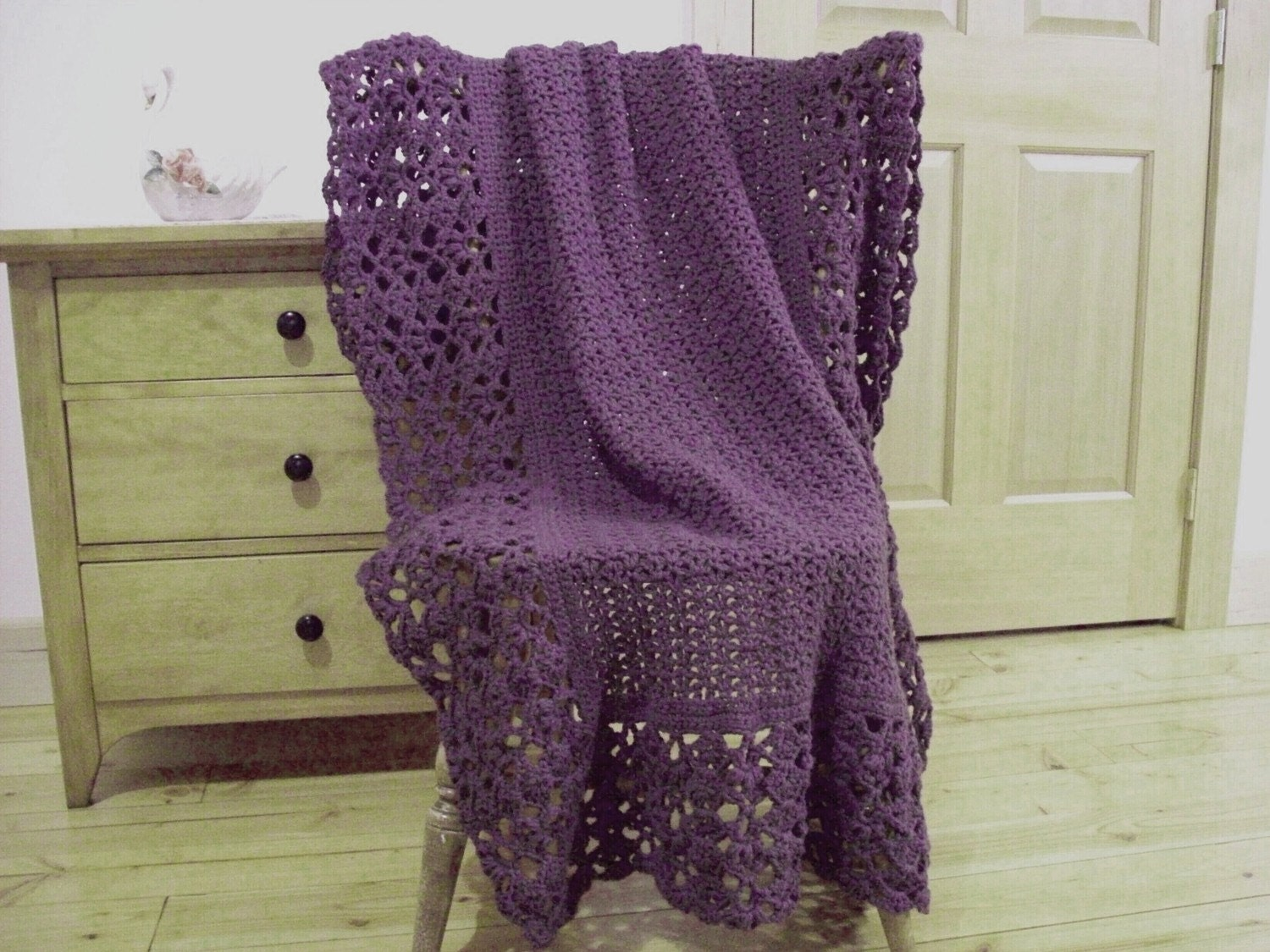 Hand Crocheted Lacy Blanket Crochet Afghan Blanket Throw