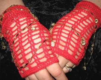 Crochet Lace Fingerless Gloves in Scarlet Red with Vintage Buttons Steampunk Victorian