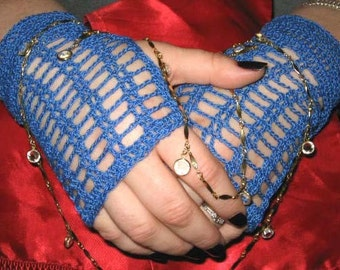 Crochet Lace Fingerless Gloves in True Blue with Lampwork Glass Buttons Steampunk Victorian