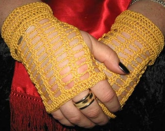 Crochet Lace Fingerless Gloves in Gold with Magnetic Closures Steampunk Victorian
