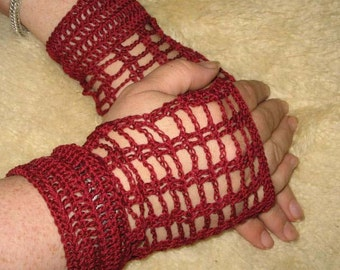 Crochet Lace Fingerless Gloves in Burgendy with Silver Metal Bead Buttons Steampunk Victorian