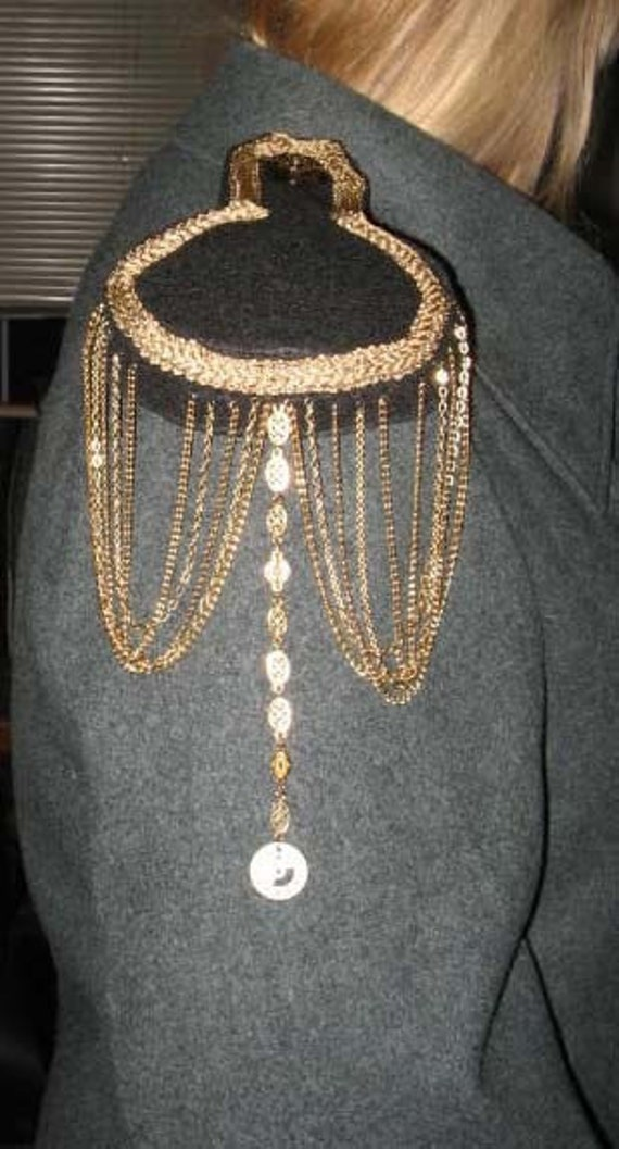 Steampunk Militaristic Epaulettes   Black and Gold with Chain