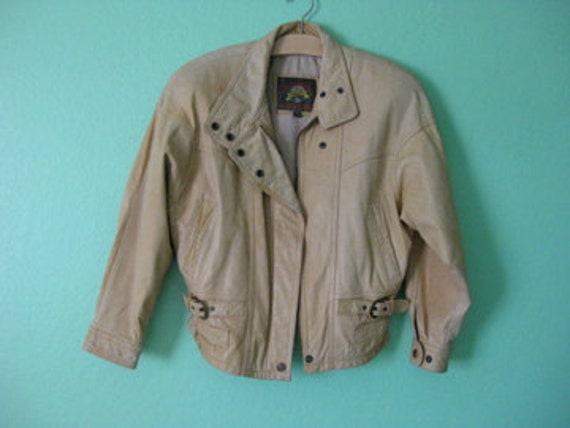 EVERYTHING TEN SALE light tan leather vintage bomber