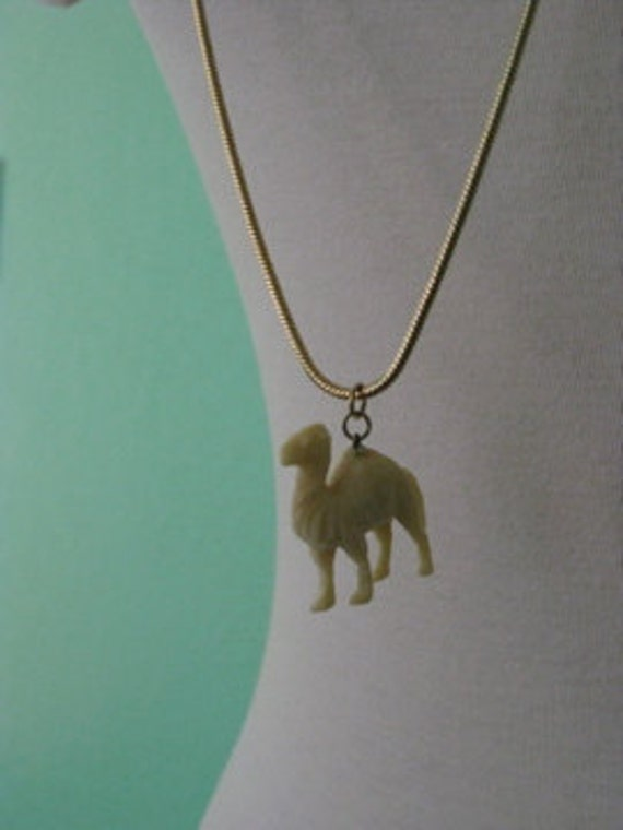 EVERYTHING TEN SALE celluloid camel Cracker Jack animal charm vintage necklace